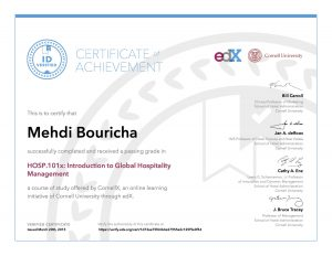 Verify Certificate online : Cornell University - HOSP.101x Introduction to Global Hospitality Management