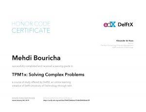 Verify Certificate online : DelftX Delft University of technology - TPM1x Solving Complex Problems