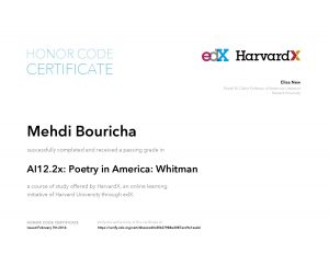 Verify Certificate online : HarvardX Harvard University - AI12.2x Poetry in America Whitman