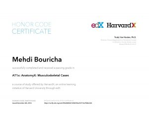 Verify Certificate online : HarvardX Harvard University - AT1x AnatomyX Musculoskeletal Cases