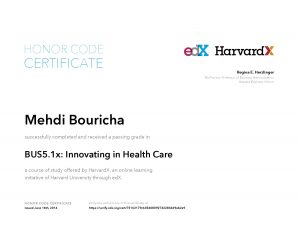 Verify Certificate online : HarvardX Harvard University - BUS5.1x Innovating in Health Care