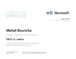 Verify Certificate online : HarvardX Harvard University - ER22.1x Justice