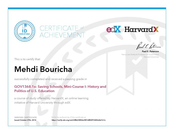 Verify Certificate online : HarvardX Harvard University - GOV1368.1x Saving Schools, Mini-Course History and Politics of U.S. Education