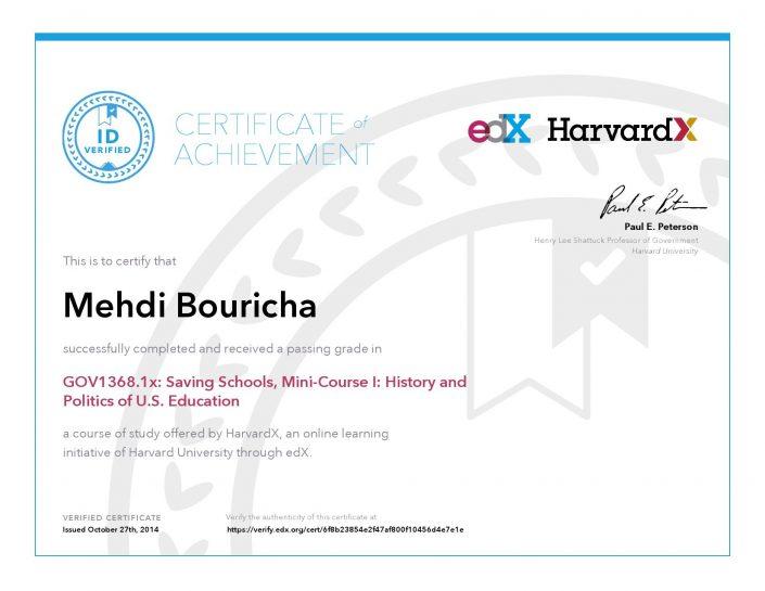 Verify Certificate online : HarvardX Harvard University - GOV1368.1x Saving Schools, Mini-Course History and Politics of U.S. Education