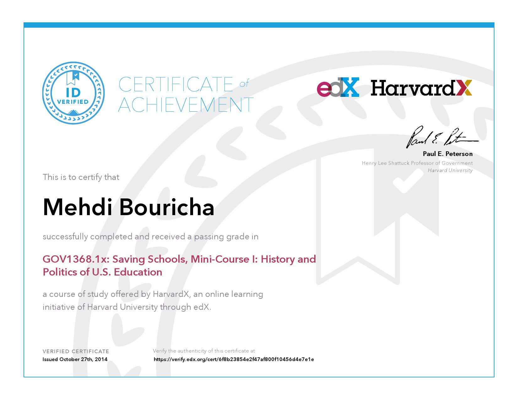 Harvardx Harvard University Gov13681x Saving Schools Mini Course