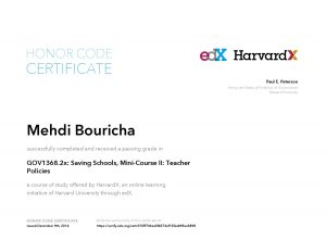 Verify Certificate online : HarvardX Harvard University - GOV1368.2x- Saving Schools, Mini-Course II- Teacher Policies
