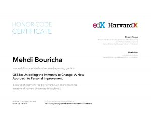 Verify Certificate online : HarvardX Harvard University - GSE1x Unlocking the Immunity to Change- A New Approach to Personal Improvement