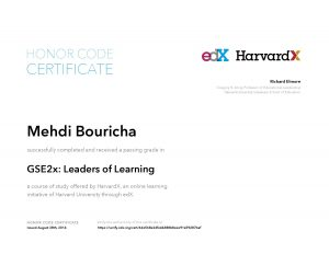Verify Certificate online : HarvardX Harvard University - GSE2x Leaders of Learning