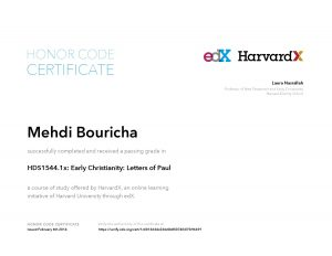 Verify Certificate online : HarvardX Harvard University - HDS1544.1x Early Christianity Letters of Paul