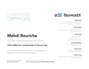 Verify Certificate online : HarvardX Harvard University HSPH-HMS214x - Fundamentals of Clinical Trials