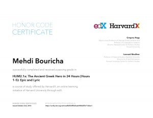 Verify Certificate online : HarvardX Harvard University HUM2.1x The Ancient Greek Hero in 24 Hours (Hours 1-5) Epic and Lyric