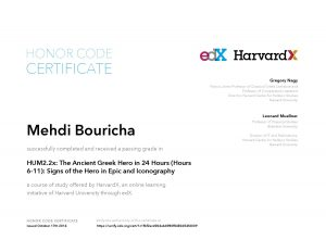 Verify Certificate online : HarvardX Harvard University - HUM2.2x The Ancient Greek Hero in 24 Hours (Hours 6-11)- Signs of the Hero in Epic and Iconography