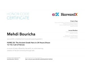 Verify Certificate online : HarvardX Harvard University - HUM2.3X The Ancient Greek Hero in 24 Hours (Hours 12-15)- Cult of Heroes