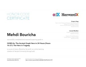 Verify Certificate online : HarvardX Harvard University - HUM2.4x The Ancient Greek Hero in 24 Hours (Hours 16-21)- The Hero in Tragedy