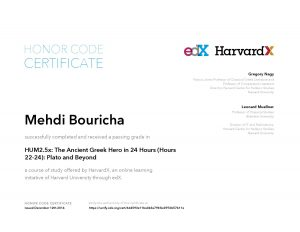 Verify Certificate online : HarvardX Harvard University - HUM2.5x The Ancient Greek Hero in 24 Hours (Hours 22-24)- Plato and Beyond