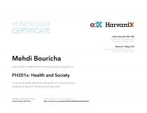 Verify Certificate online : HarvardX Harvard University - PH201x Health and Society