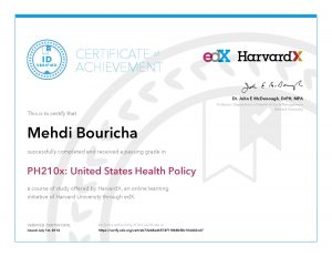 Verify Certificate online : HarvardX Harvard University - PH210x United States Health Policy
