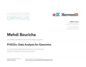 Verify Certificate online : HarvardX Harvard University - PH525x Data Analysis for Genomics