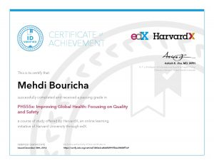 Verify Certificate online : HarvardX Harvard University - PH555x Improving global health Focusing on quality and safety