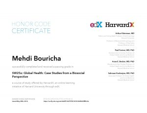 Verify Certificate online : HarvardX Harvard University - SW25x Global Health- Case Studies from a Biosocial Perspective a