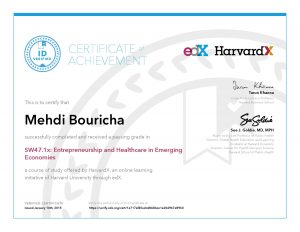 Verify Certificate online : HarvardX Harvard University - SW47.1x Entrepreneurship and Healthcare in Emerging Economies a