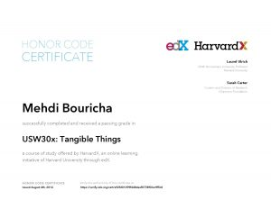 Verify Certificate online : HarvardX Harvard University - Tangible Things