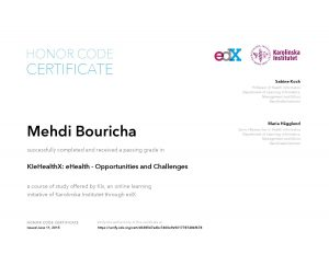 Verify Certificate online : KIx Karolinska Institutet KIeHealthX eHealth - Opportunities and Challenges