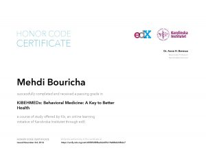 Verify Certificate online : KiX Karolinska Institutet KIBEHMEDx Behavioral Medicine - A Key to Better Health