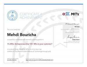 Verify Certificate online : MITx Massachusetts Institute of Technology - 15.390x Entrepreneurship 101- Who is your customer
