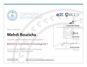 Verify Certificate online : RiceX Rice university - BIOC372.1x Fundamentals of Immunology Part 1?