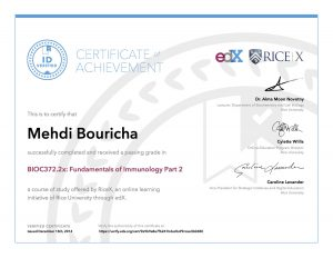 Verify Certificate online : RiceX Rice university - BIOC372.1x Fundamentals of Immunology Part 2