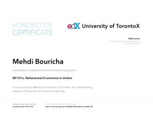 TorontoX University of Toronto - BE101x Behavioural Economics in Action