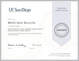 Verify Certificate online : UC San Diego - Learning how to learn Powerful mental tools to help you master tough subjects