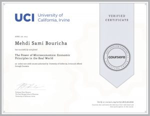 Verify Certificate online : UCI University of California Irvine - The power of microeconomics Economics principles in the real world