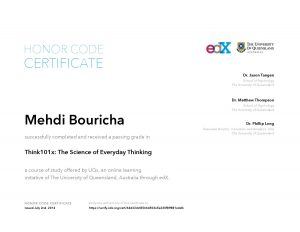 Verify Certificate online : UQx University of Queensland - Think101x The Science of Everyday Thinking