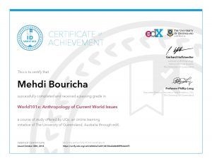 Verify Certificate online : UQx University of Queensland - World101x Anthropology of Current World Issues