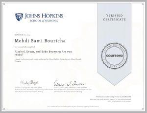 Verify Certificate online : University John Hopkins - Alcohol are you ready