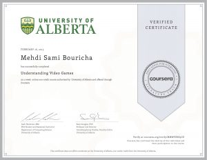 Verify Certificate online : University of Alberta - Understanding Video Games