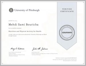 Verify Certificate online : University of Pittsburgh - nutrition and physical activity for health