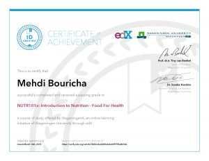 Verify Certificate online : WageningenX Wageningen University - NUTR101x Introduction to Nutrition Food For Health
