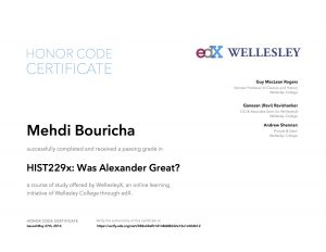 Verify Certificate online : WellesleyX HIST229x Was Alexander Great?